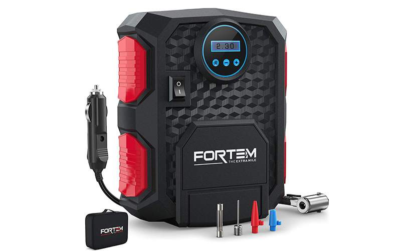 FORTEM Digital Tire Inflator for Car w//Auto Pump//Shut Off Feature Carrying Case Portable Air Compressor Black